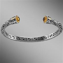 Sterling silver open citrine bangle bracelet with gold.  Arista.