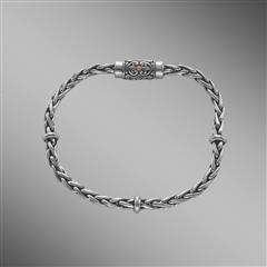 Sterling silver wheat chain bracelet with magnetic clasp.