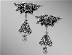 Henbane amethyst silver earrings with broomstick & cauldron