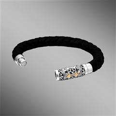 Thick braided leather bracelet with magnetic clasp.