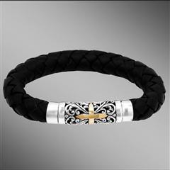 Thick braided leather silver bracelet with gold cross.
