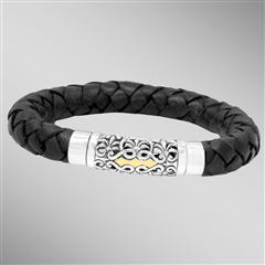 Thick black braided leather bracelet with silver and gold magnetic clasp. Arista.