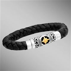 Braided black leather bracelet with gold 8-point star.  Arista.