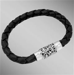 Black braided leather bracelet with silver anthemion motif clasp. Arista.