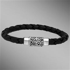 Black woven leather bracelet with sterling silver clasp.